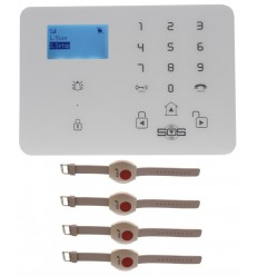 KP9 GSM Wireless Panic Alarm Kit C with Wristband Panic Buttons