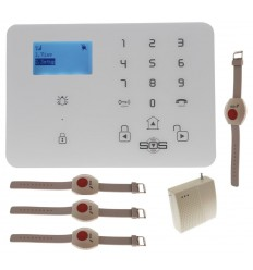 KP9 GSM Wireless Panic Alarm Kit D with Wristband Panic Buttons