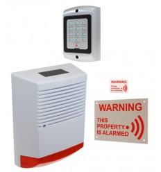 Large Solar Powered Dummy Alarm Siren with External Alarm Warning Sign, Window Sticker & Dummy Alarm Keypad