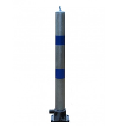 Galvanised & Blue 900W-76 Fold Down Parking Post, Integral Lock & Eyelet (001-2600 K/D, 001-2590 K/A).