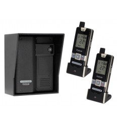 Wireless Gate & Door Intercom with 2 x Handsets (UltraCom2 No Keypad) Black & Black Hood