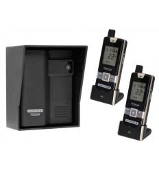 Wireless Gate & Door Intercom with 2 x Handsets (UltraCom2 No Keypad) Black & Black Hood