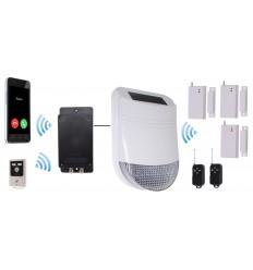 HY Solar Wireless Siren House Alarm Kit 1 with Battery GSM Dialler