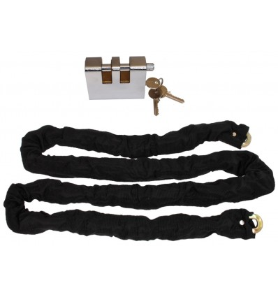 2 metre Long Steel Chain (10 mm links) with Double Slotted Shackle Lock