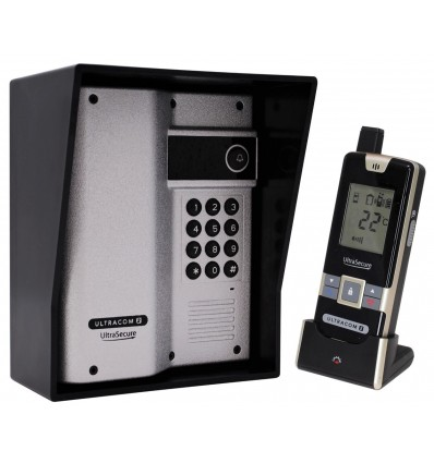 Wireless Gate & Door Intercom with Keypad (UltraCom2) Silver & Black Hood