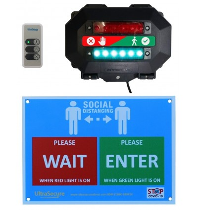 Wireless Entry Traffic Light Kit B with Wall Sign