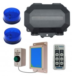 Wireless Commercial Doorbell Flashing LED Kit inc Heavy Duty Push Button & 2 x Blue Flashing LEDs