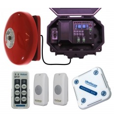 Twin Push Button Wireless Commercial Bell Kit with additional Chime Receiver