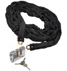 5 metres Long 10 mm Case Hardened Steel Chain with Double Slotted Shackle Lock (012-1420 K/D, 012-1430 K/A).